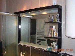 velika polica za kupatilo sa ogledalom i pregradama
